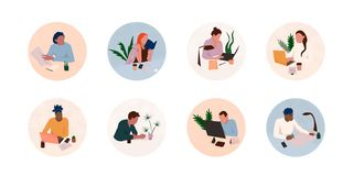 Office workplace icon set royalty free illustration