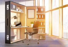 Office workplace inside suitcase toning. Office interior with abstract workplace inside big suitcase and window with New York city view. Toned image, 3D Stock Photos