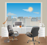 Office workplace interior design. Business objects, elements & equipment.Blue  sky. Stock Image