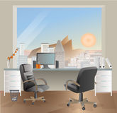 Office workplace interior design. Business objects, elements & equipment. Stock Photo