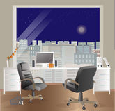 Office workplace interior design. Business objects, elements & equipment. Night sky. Stock Photos