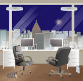Office workplace interior design. Business objects, elements & equipment. Night sky. Stock Images