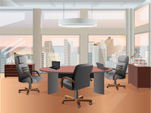 Office workplace interior design. Flat concept illustration. Business objects, elements & equipment. Royalty Free Stock Image