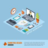 Office workplace. Isometric design. Business. Background with flat isometric icons and place for text. Vector illustration vector illustration