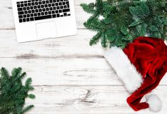 Office Workplace Laptop Notebook Christmas Decoration Business H. Office Workplace with Keyboard Laptop Notebook and Christmas Decoration. Business Holidays royalty free stock image