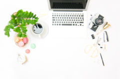 Office workplace with laptop blurred background Royalty Free Stock Images