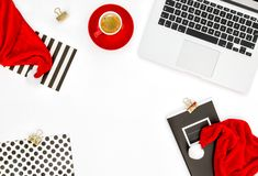 Office workplace laptop computer coffee Christmas decoration fla. Office workplace with laptop computer, coffee and Christmas decoration. Flat lay for social royalty free stock photos