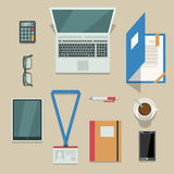Office workplace with mobile devices and documents Royalty Free Stock Images