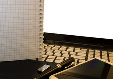 Office workplace with notebook, smart phone, pen, flash drive and wordpad Stock Images