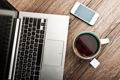 Office workplace with open laptop Royalty Free Stock Image