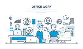 Office workplace, performance evaluation, analysis of results, planning, control, teamwork. Office workplace, teamwork, performance evaluation and analysis of Royalty Free Stock Image