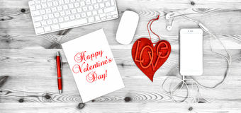 Office Workplace Red Heart Phone Valentines Day decoration Stock Photography