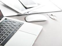 Office Workplace social media Laptop Tablet PC Phone Headphones. Office Workplace for social media with Laptop, Tablet PC, Phone, Headphones. Selective focus stock photos