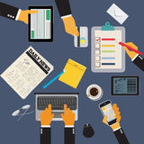 Office workplace with tablet, cellphone, newspaper and report, vector illustration  Stock Images