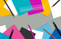 Office workplace. Top view of desk top surrounded by papers, pencils and technical pens. Stock Photos