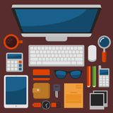 Office Workplace Top View in Flat Design Vector Stock Photos