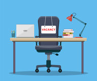 Office workplace with vacancy sign. Empty seat, chair in room for employee. Business hiring, recruitment concept. Vector illustration in flat style Stock Images