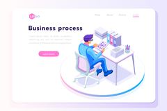 Office workplace for web page banner. Office tablet concept, isometric male at office working on a tablet display, isometric workplace concept Stock Photo