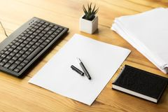 Office workplace on wood table royalty free stock image