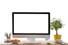 Office workplace with wooden desk. Stock Photography