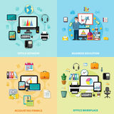 Office Workplace 2x2 Design Concept Stock Images