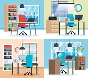 Office workplaces scenes icons. Vector illustration design Stock Images