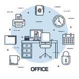 Office workspace chair computer clock printer secure file. Vector illustration Royalty Free Stock Photography