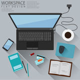 Office Workspace Computer Top View Flat Design Royalty Free Stock Photo