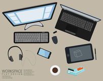 Office Workspace Computer Top View Flat Design Stock Image