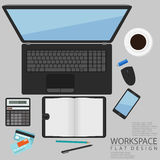 Office Workspace Computer Top View Flat Design Royalty Free Stock Image
