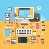 Office workspace creative person flat modern design illustration Stock Photo