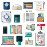 Office Workspace And Finance Flat Icons On White Background. Business and financial work items, essentials, equipment, elements, development tools. Colorful Royalty Free Stock Image