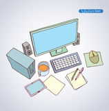 Office Workspace,  hand drawn vector illustration Royalty Free Stock Photos