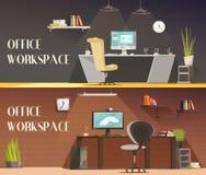 Office Workspace 2 Horizontal Cartoon Banners Stock Image
