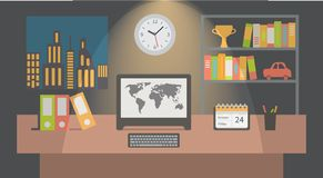 Office workspace interior nighttime, flat vector Royalty Free Stock Images