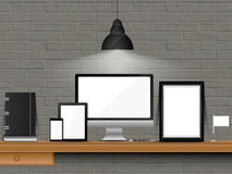 Office workspace with modern devices mockup. Stock Photo