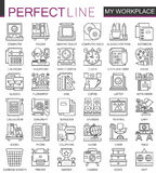 Office workspace outline mini concept symbols. Modern stroke linear style illustrations set. My workplace perfect thin vector illustration