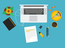 Office workspace. Set of stationary objects and notebook in flat Royalty Free Stock Image