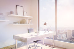 Office workspace sideview toning Stock Image