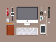 Office workspace. Top view of desk workplace background with computer, flat design. Stock Image