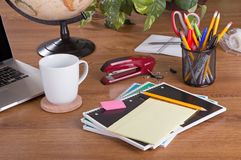 Office Workspace with Various Accessories Royalty Free Stock Image