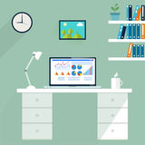 Office workstation. Computer in workspace, vector Royalty Free Stock Photography