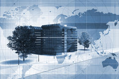 Office on world map. Abstract illustration of a modern office building on the world map background, blue tone image Stock Images