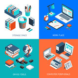 Office 2x2 Isometric Design Concept Stock Images
