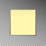 Office yellow post note. Paper sheet sticker with shadow isolated on a transparent background. Vect. Or illustration Royalty Free Stock Photo