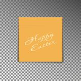 Office yellow post note with text Happy Easter. Paper sheet sticker with shadow isolated on a trans. Parent background. Vector illustration Stock Photography