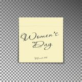 Office yellow post note with text Womens day and date 8th March. Paper sheet sticker with shadow is. Olated on a transparent background. Vector illustration stock illustration