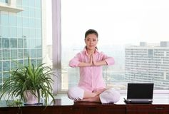 Office yoga Royalty Free Stock Photography