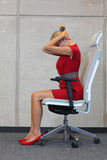 Office yoga, relax on chair - business woman exercising Royalty Free Stock Photos