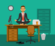 Office Yoga Vector Illustration Royalty Free Stock Images